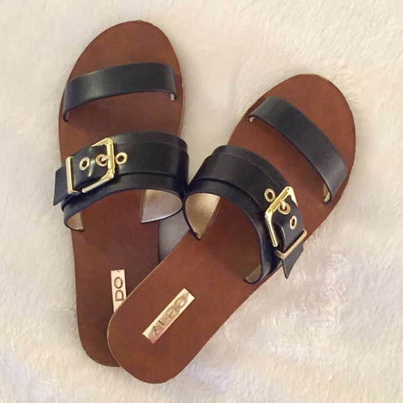 Aldo Shoes - Aldo black   gold buckle sandals